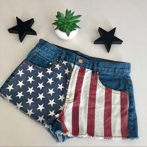 F21 Patriotic Flag High Waisted Shorts